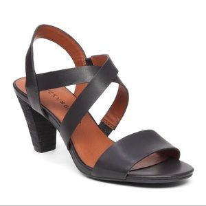 Lucky Brand Black Pacora Heeled Leather Sandal 8
